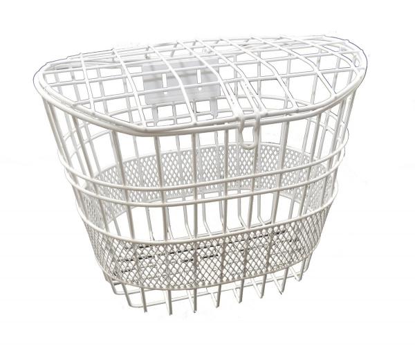 cesta metal con tapa para bicicleta