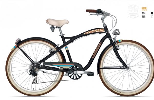 Bicicleta cruiser hombre Modelo Adriática aluminio Bicicleta cruiser hombre con barra alta. Características: Cuadro aluminio Componentes en aluminio Ruedas de 26 pulgadas 6 Velocidades Peso 16 Kg. Frenos Shimano Faro delantero y trasero Incluye guardabarros IVA Y TRANSPORTE INCLUIDOS Ver otros modelos:https://www.bicicletasvaldes.com/categoria-producto/bicicletas-cruiser/