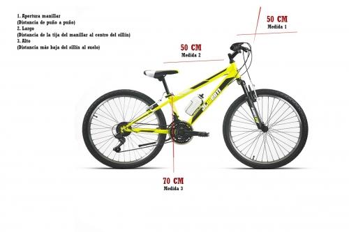 medidas bicicleta bicicleta 24 pulgadas mtb amarilla