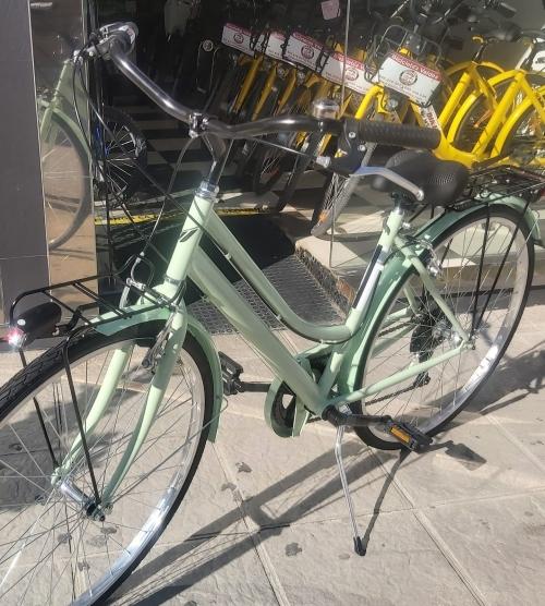 bicicleta urbana verde mbm